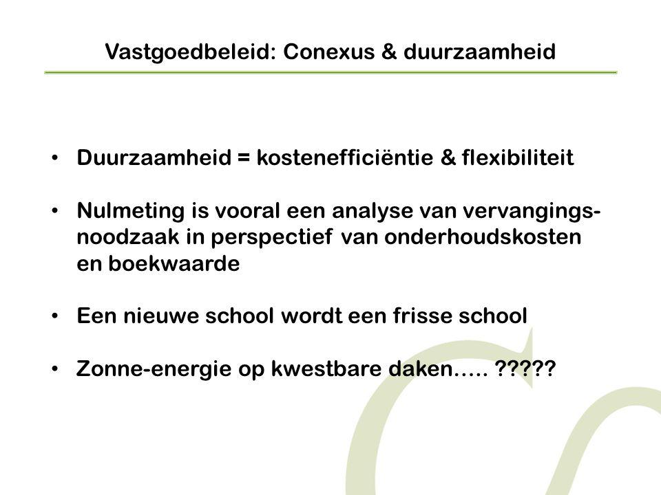 Vastgoedbeleid: Conexus & duurzaamheid • Duurzaamheid = kostenefficiëntie & flexibiliteit • Nulmeting is vooral een analyse van vervangings- noodzaak in perspectief van onderhoudskosten en boekwaarde • Een nieuwe school wordt een frisse school • Zonne-energie op kwestbare daken…..