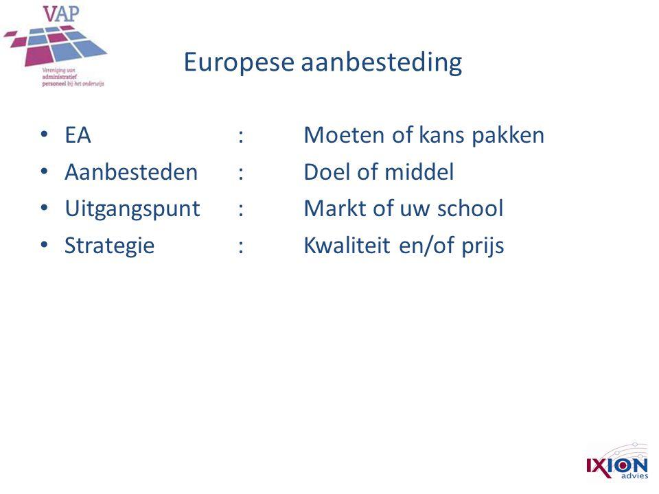 Europese aanbesteding • EA: Moeten of kans pakken • Aanbesteden :Doel of middel • Uitgangspunt :Markt of uw school • Strategie :Kwaliteit en/of prijs