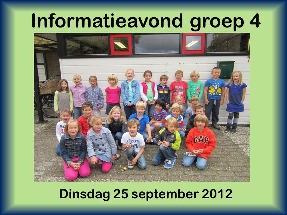 Informatieavond groep 4 Dinsdag 25 september 2012