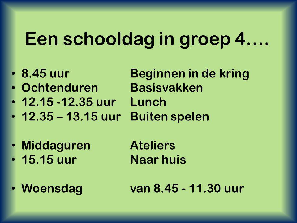 Een schooldag in groep 4…. • 8.45 uur Beginnen in de kring • OchtendurenBasisvakken • 12.15 -12.35 uur Lunch • 12.35 – 13.15 uurBuiten spelen • Middag