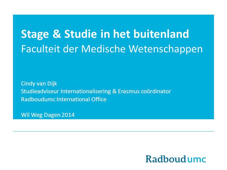 Stage & Studie in het buitenland Faculteit der Medische Wetenschappen Cindy van Dijk Studieadviseur Internationalisering & Erasmus coördinator Radboud