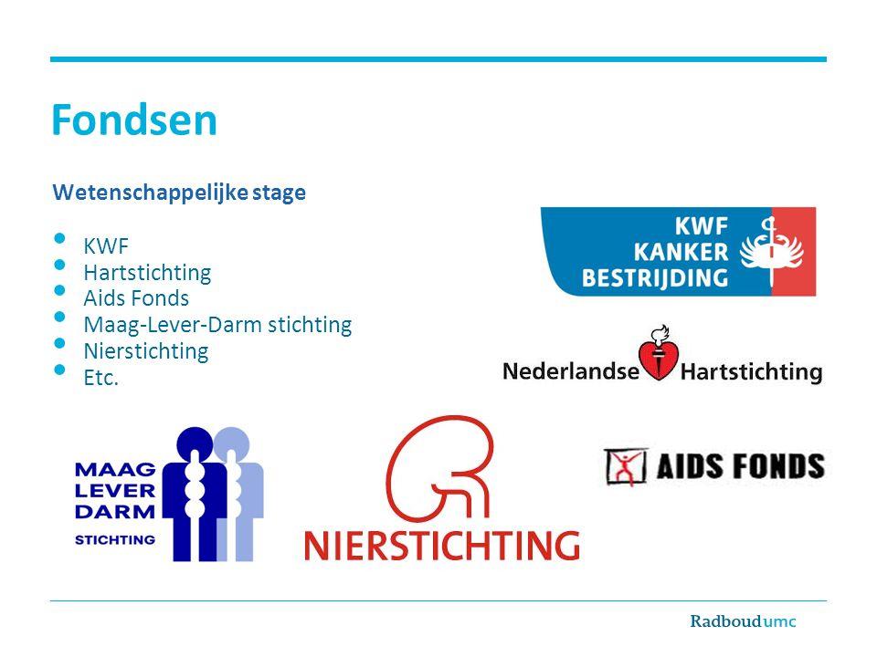 Fondsen Wetenschappelijke stage • KWF • Hartstichting • Aids Fonds • Maag-Lever-Darm stichting • Nierstichting • Etc.
