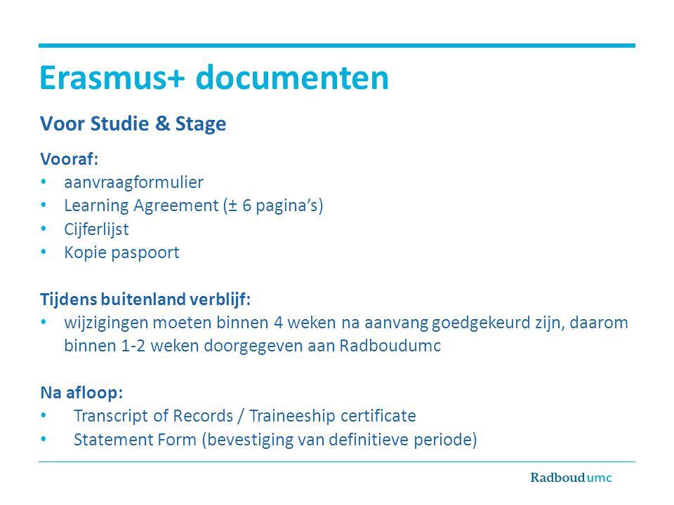 Erasmus+ documenten Voor Studie & Stage Vooraf: • aanvraagformulier • Learning Agreement (± 6 pagina's) • Cijferlijst • Kopie paspoort Tijdens buitenl