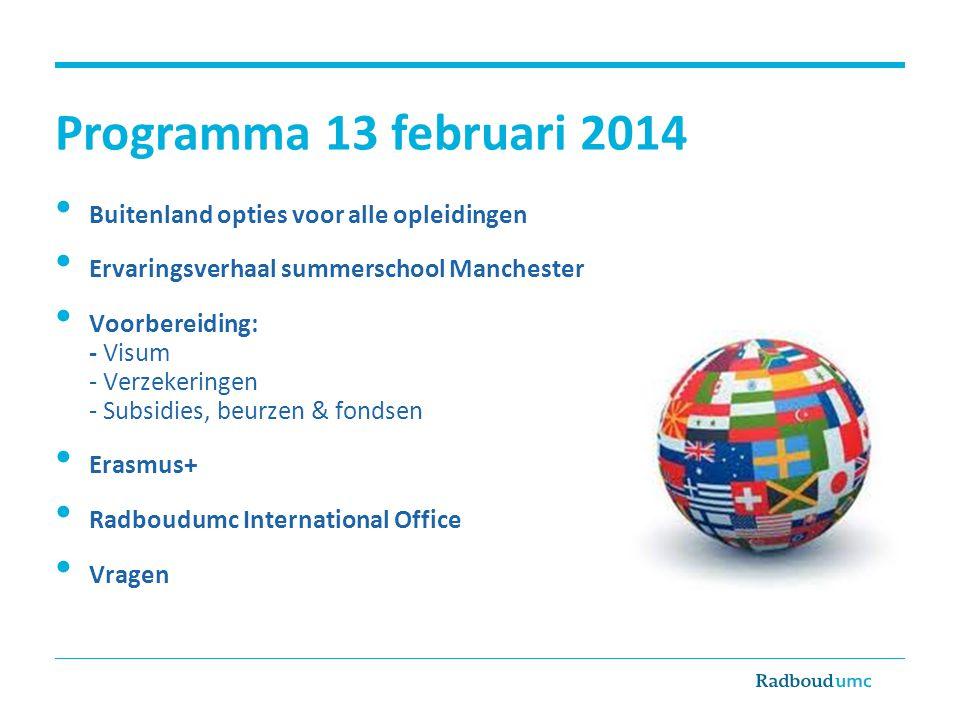 Programma 13 februari 2014 • Buitenland opties voor alle opleidingen • Ervaringsverhaal summerschool Manchester • Voorbereiding: - Visum - Verzekering