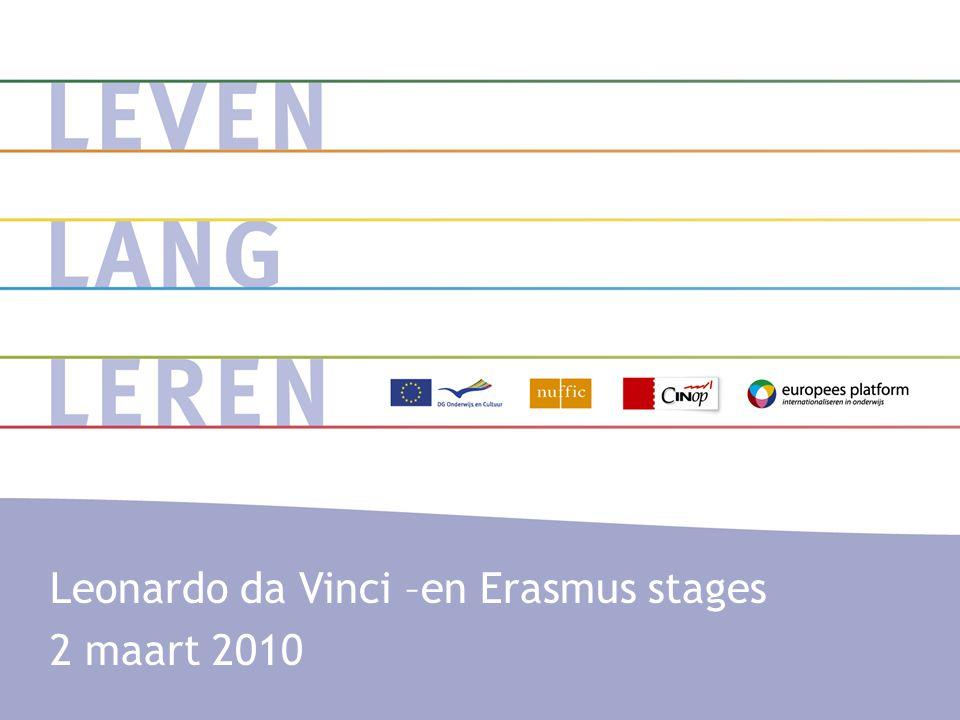 Erasmus- en Leonardo da Vinci stages: de context •Het Leven Lang Leren Programma een Europees onderwijsprogramma •Het Nationaal Agentschap (Nuffic, CINOP, Europees Platform)