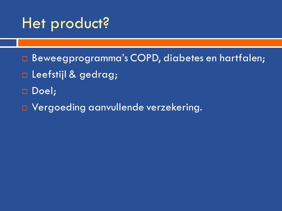 Het product?  Beweegprogramma's COPD, diabetes en hartfalen;  Leefstijl & gedrag;  Doel;  Vergoeding aanvullende verzekering.