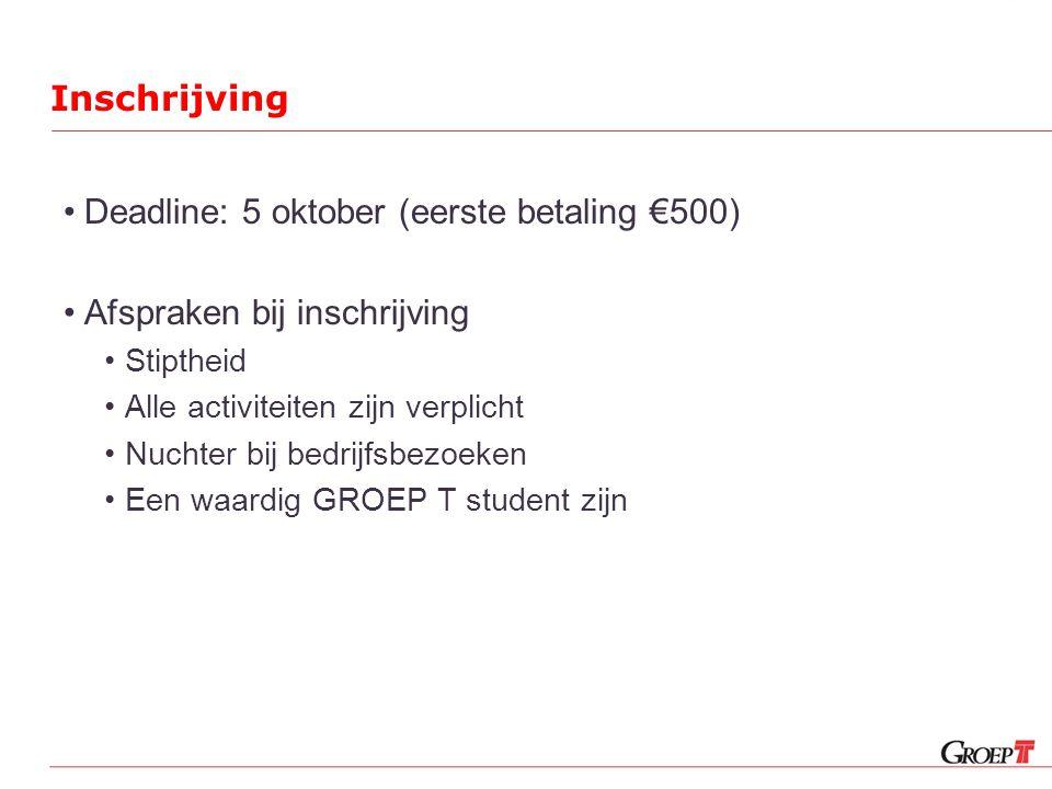 Inschrijving •Deadline: 5 oktober (eerste betaling €500) •Afspraken bij inschrijving •Stiptheid •Alle activiteiten zijn verplicht •Nuchter bij bedrijfsbezoeken •Een waardig GROEP T student zijn