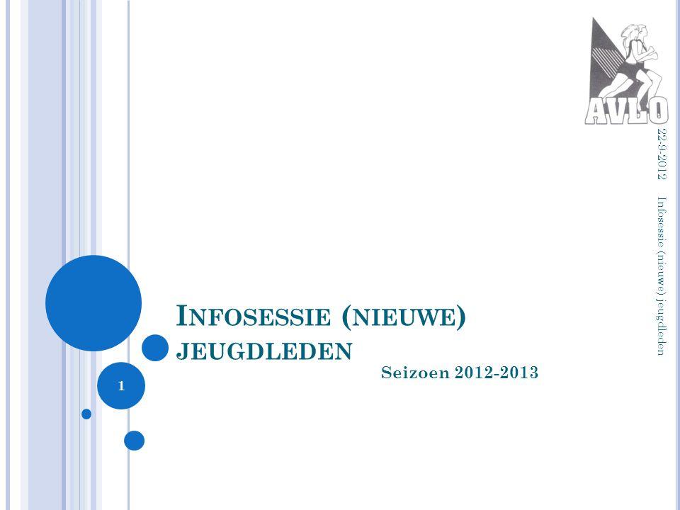 I NFOSESSIE ( NIEUWE ) JEUGDLEDEN Seizoen 2012-2013 22-9-2012 Infosessie (nieuwe) jeugdleden 1
