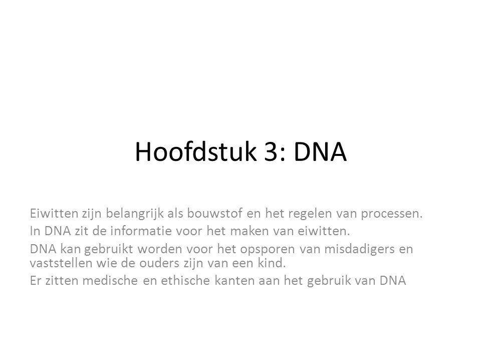 Hoofdstuk 3: DNA Eiwitten zijn belangrijk als bouwstof en het regelen van processen. In DNA zit de informatie voor het maken van eiwitten. DNA kan geb
