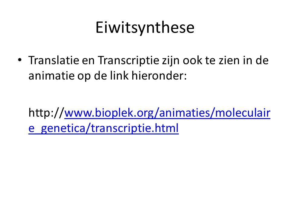 Eiwitsynthese • Translatie en Transcriptie zijn ook te zien in de animatie op de link hieronder: http://www.bioplek.org/animaties/moleculair e_genetic