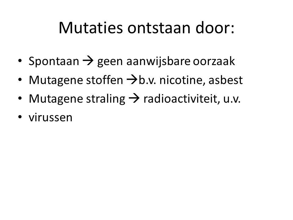 Mutaties ontstaan door: • Spontaan  geen aanwijsbare oorzaak • Mutagene stoffen  b.v. nicotine, asbest • Mutagene straling  radioactiviteit, u.v. •