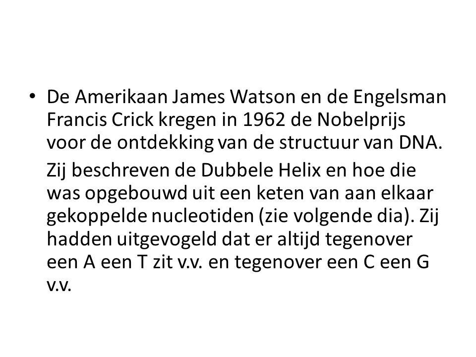 • De Amerikaan James Watson en de Engelsman Francis Crick kregen in 1962 de Nobelprijs voor de ontdekking van de structuur van DNA. Zij beschreven de