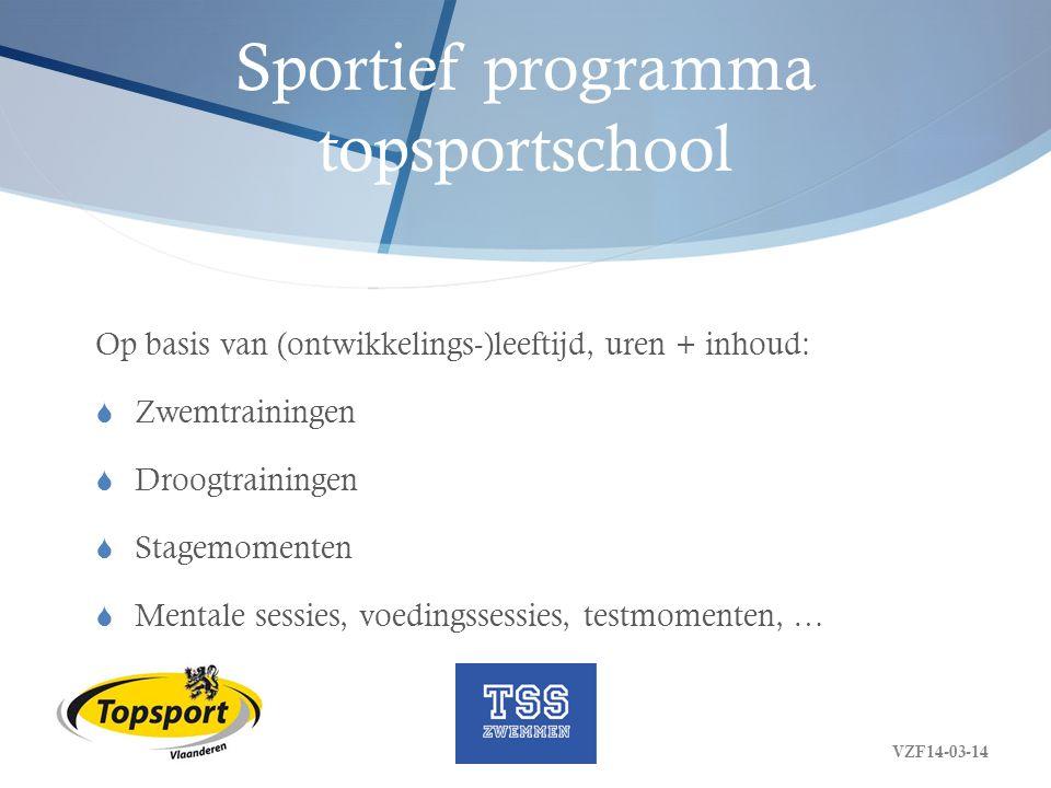 Sportief programma topsportschool Op basis van (ontwikkelings-)leeftijd, uren + inhoud:  Zwemtrainingen  Droogtrainingen  Stagemomenten  Mentale s