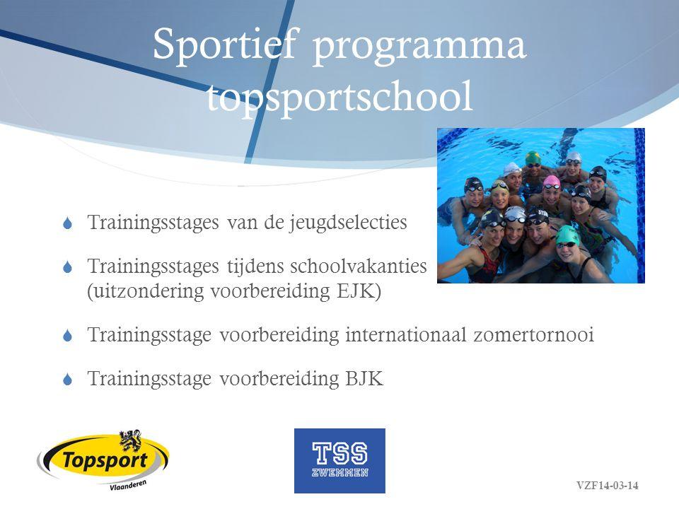 Sportief programma topsportschool  Trainingsstages van de jeugdselecties  Trainingsstages tijdens schoolvakanties (uitzondering voorbereiding EJK) 