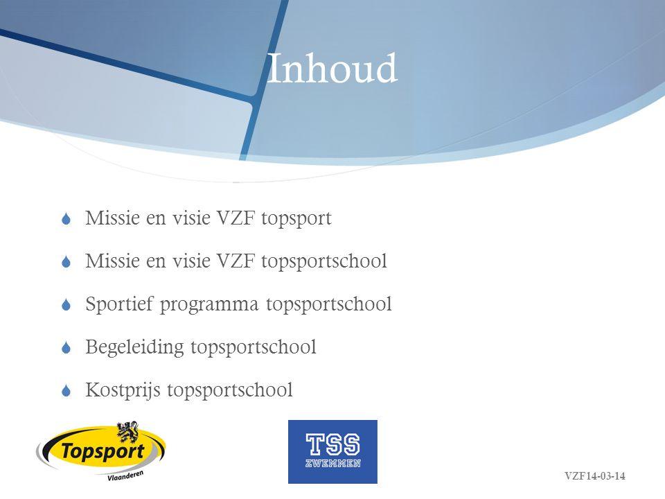 Inhoud  Missie en visie VZF topsport  Missie en visie VZF topsportschool  Sportief programma topsportschool  Begeleiding topsportschool  Kostprij