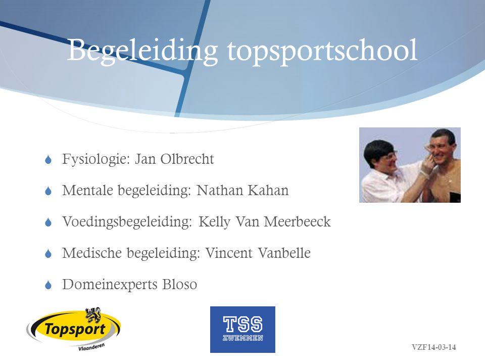 Begeleiding topsportschool  Fysiologie: Jan Olbrecht  Mentale begeleiding: Nathan Kahan  Voedingsbegeleiding: Kelly Van Meerbeeck  Medische begele