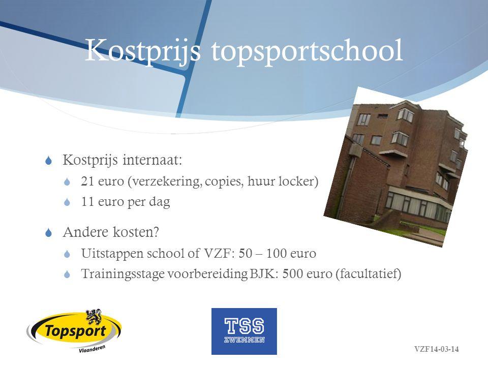 Kostprijs topsportschool  Kostprijs internaat:  21 euro (verzekering, copies, huur locker)  11 euro per dag  Andere kosten?  Uitstappen school of