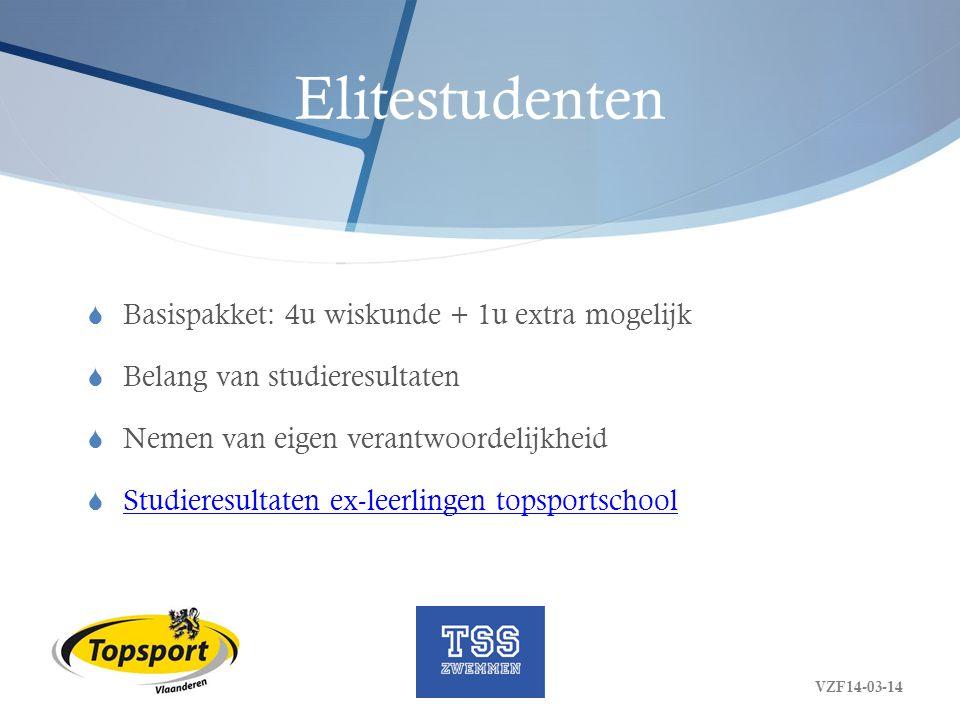 Elitestudenten  Basispakket: 4u wiskunde + 1u extra mogelijk  Belang van studieresultaten  Nemen van eigen verantwoordelijkheid  Studieresultaten