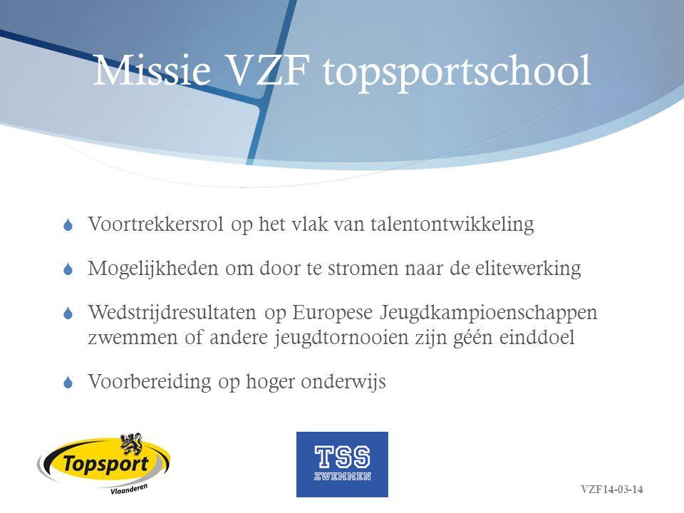 Missie VZF topsportschool  Voortrekkersrol op het vlak van talentontwikkeling  Mogelijkheden om door te stromen naar de elitewerking  Wedstrijdresu