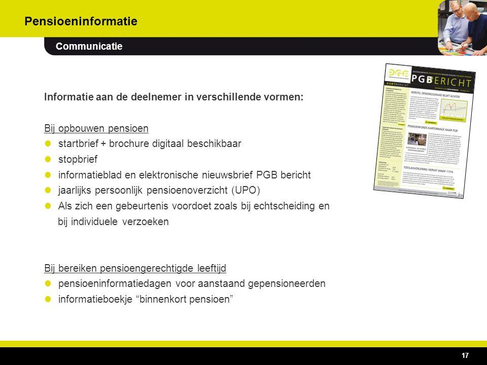 17 Informatie aan de deelnemer in verschillende vormen: Bij opbouwen pensioen  startbrief + brochure digitaal beschikbaar  stopbrief  informatiebla