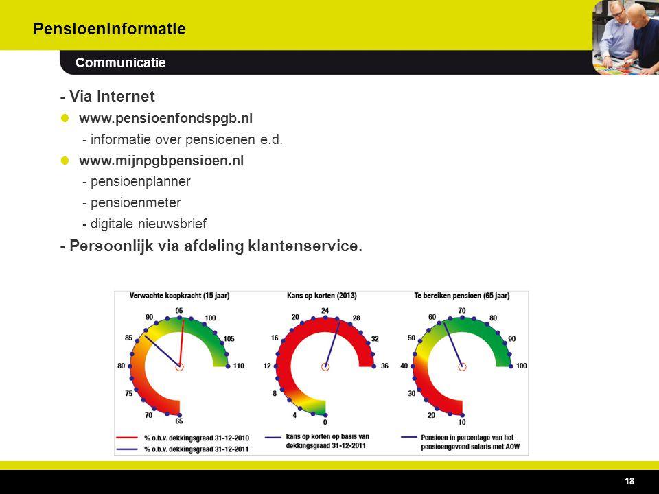 18 - Via Internet  www.pensioenfondspgb.nl - informatie over pensioenen e.d.  www.mijnpgbpensioen.nl - pensioenplanner - pensioenmeter - digitale ni