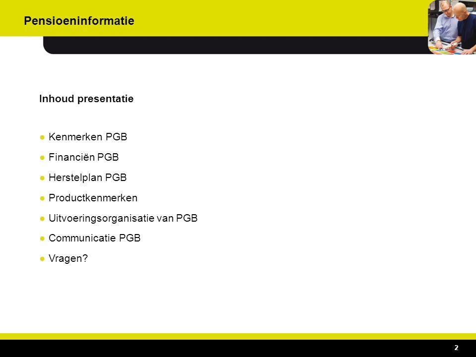 Inhoud presentatie ●Kenmerken PGB ●Financiën PGB ●Herstelplan PGB ●Productkenmerken ●Uitvoeringsorganisatie van PGB ●Communicatie PGB ●Vragen? 2 Pensi