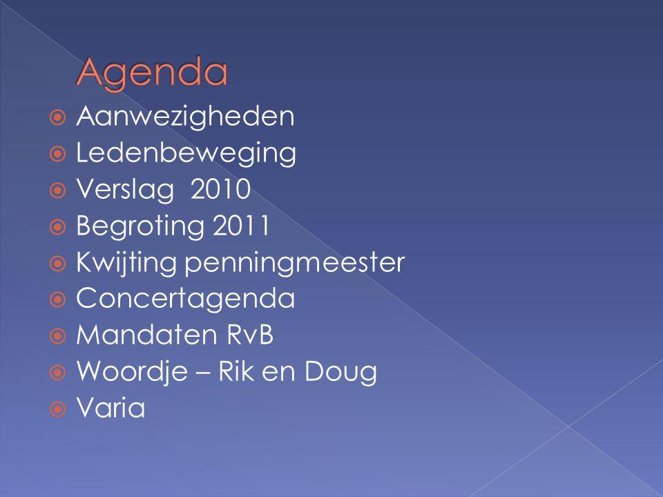  Aanwezigheden  Ledenbeweging  Verslag 2010  Begroting 2011  Kwijting penningmeester  Concertagenda  Mandaten RvB  Woordje – Rik en Doug  Varia