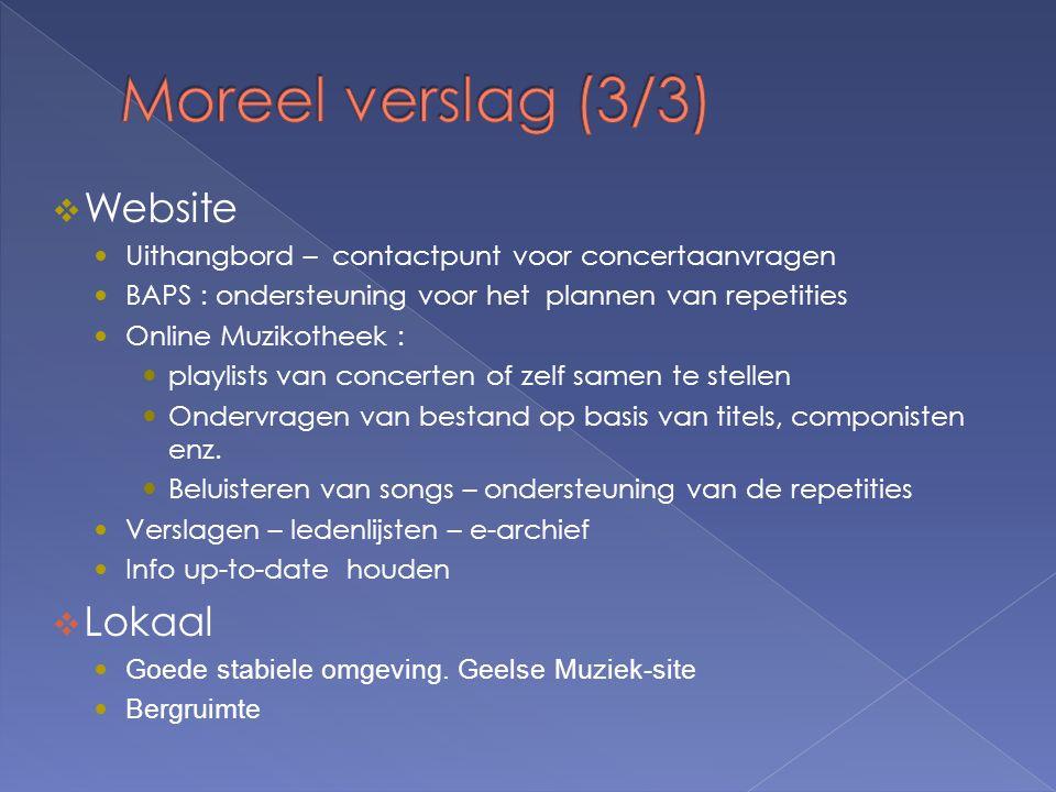  Website  Uithangbord – contactpunt voor concertaanvragen  BAPS : ondersteuning voor het plannen van repetities  Online Muzikotheek :  playlists