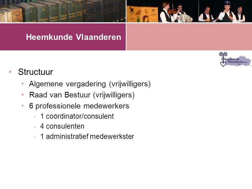 Heemkunde Vlaanderen •Structuur •Algemene vergadering (vrijwilligers) •Raad van Bestuur (vrijwilligers) •6 professionele medewerkers • 1 coördinator/consulent • 4 consulenten • 1 administratief medewerkster