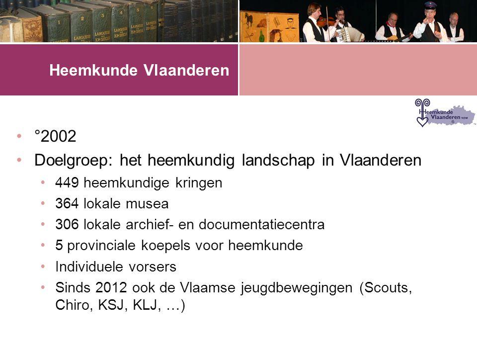 Heemkunde Vlaanderen •°2002 •Doelgroep: het heemkundig landschap in Vlaanderen •449 heemkundige kringen •364 lokale musea •306 lokale archief- en documentatiecentra •5 provinciale koepels voor heemkunde •Individuele vorsers •Sinds 2012 ook de Vlaamse jeugdbewegingen (Scouts, Chiro, KSJ, KLJ, …)