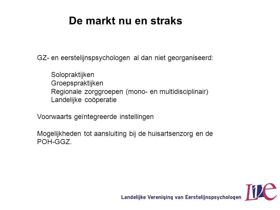 De markt nu en straks GZ- en eerstelijnspsychologen al dan niet georganiseerd: Solopraktijken Groepspraktijken Regionale zorggroepen (mono- en multidi