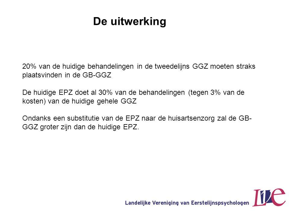 De uitwerking 20% van de huidige behandelingen in de tweedelijns GGZ moeten straks plaatsvinden in de GB-GGZ De huidige EPZ doet al 30% van de behande