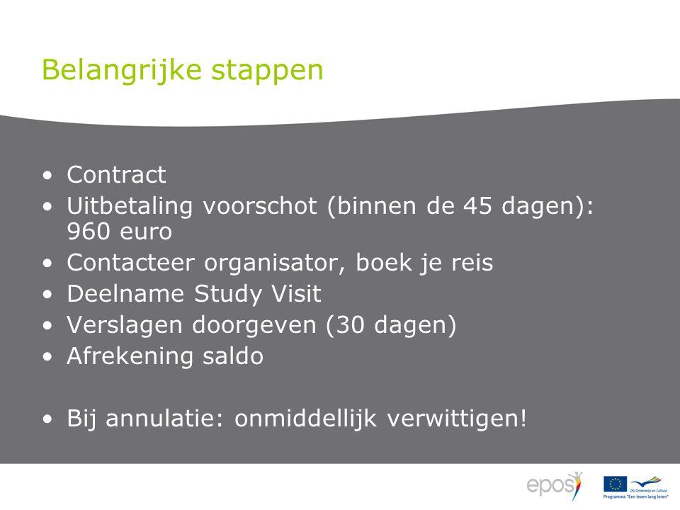 Belangrijke stappen •Contract •Uitbetaling voorschot (binnen de 45 dagen): 960 euro •Contacteer organisator, boek je reis •Deelname Study Visit •Verslagen doorgeven (30 dagen) •Afrekening saldo •Bij annulatie: onmiddellijk verwittigen!