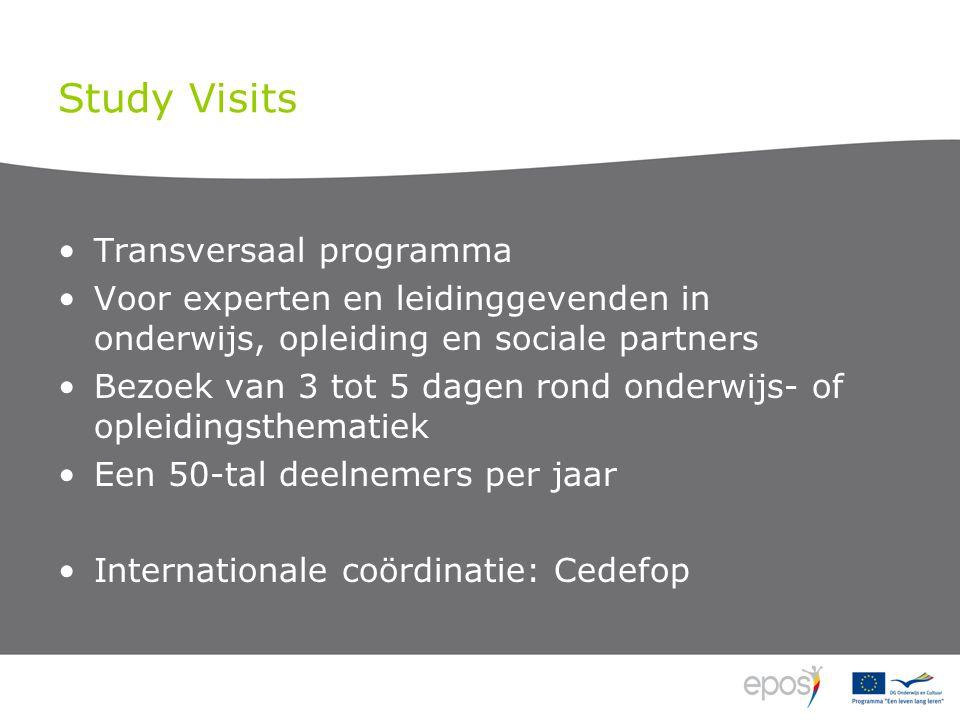 Study Visits •Transversaal programma •Voor experten en leidinggevenden in onderwijs, opleiding en sociale partners •Bezoek van 3 tot 5 dagen rond onderwijs- of opleidingsthematiek •Een 50-tal deelnemers per jaar •Internationale coördinatie: Cedefop