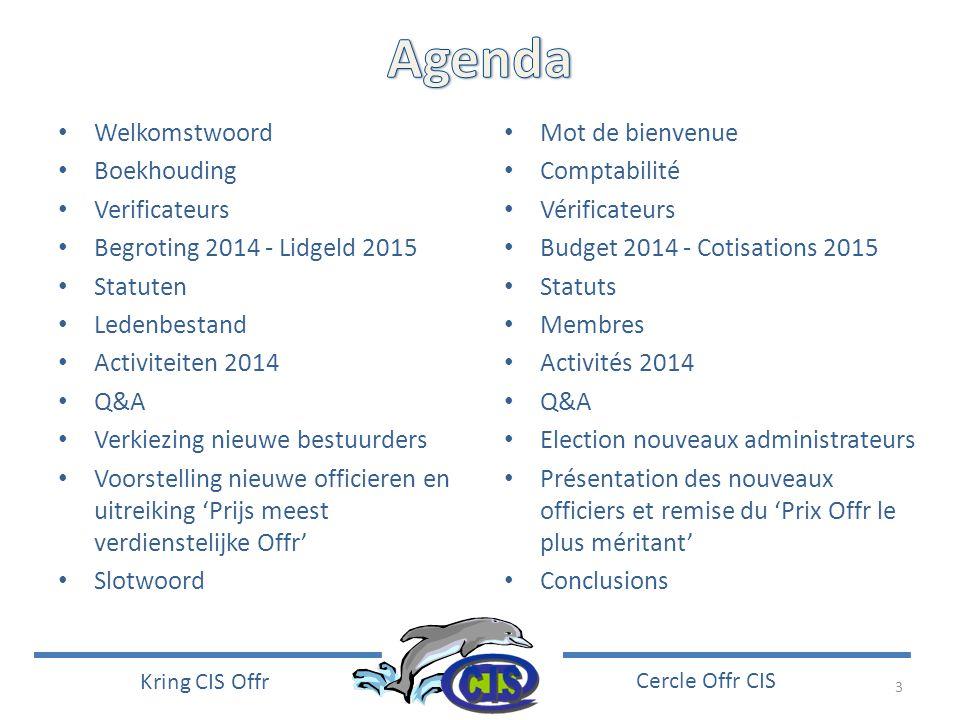 3 Kring CIS Offr Cercle Offr CIS • Welkomstwoord • Boekhouding • Verificateurs • Begroting 2014 - Lidgeld 2015 • Statuten • Ledenbestand • Activiteite