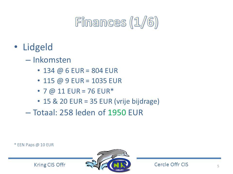 5 Kring CIS Offr Cercle Offr CIS • Lidgeld – Inkomsten • 134 @ 6 EUR = 804 EUR • 115 @ 9 EUR = 1035 EUR • 7 @ 11 EUR = 76 EUR* • 15 & 20 EUR = 35 EUR