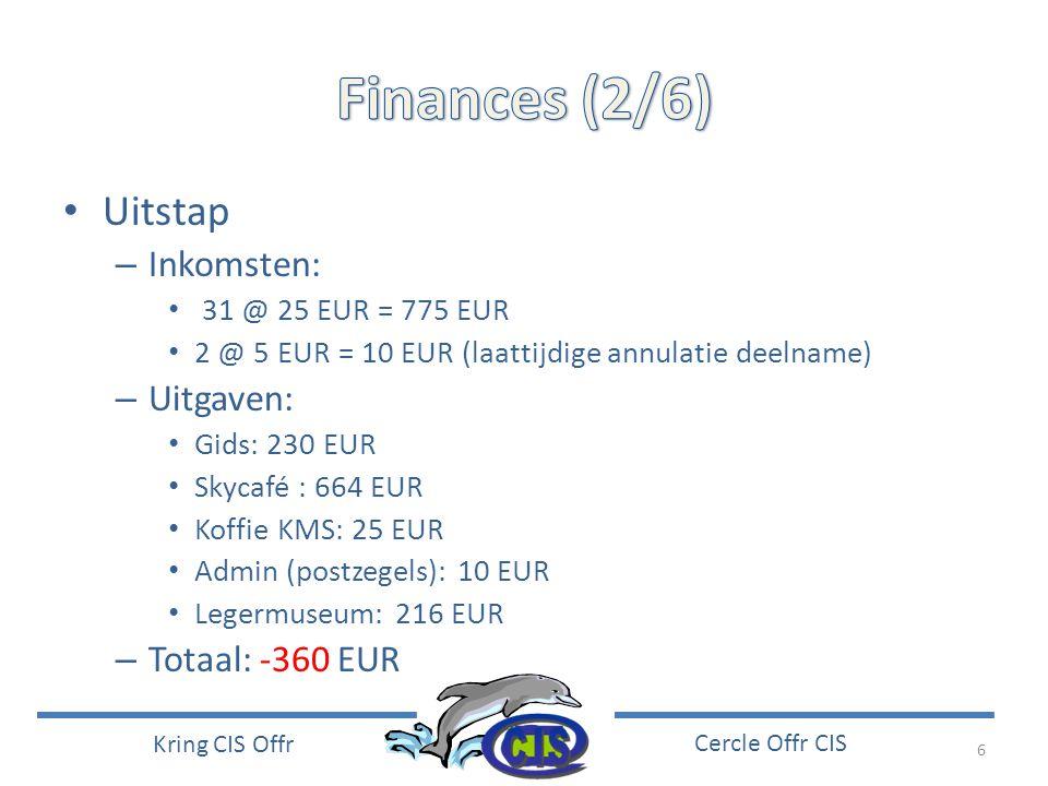 6 Kring CIS Offr Cercle Offr CIS • Uitstap – Inkomsten: • 31 @ 25 EUR = 775 EUR • 2 @ 5 EUR = 10 EUR (laattijdige annulatie deelname) – Uitgaven: • Gi