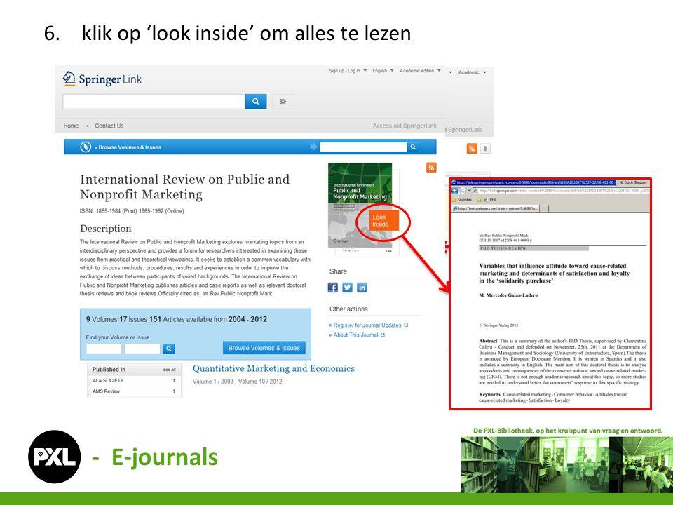 6.klik op 'look inside' om alles te lezen - E-journals