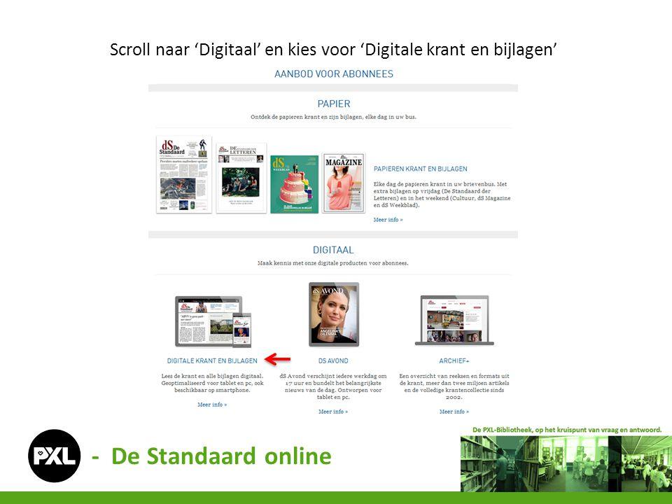 Scroll naar 'Digitaal' en kies voor 'Digitale krant en bijlagen' - De Standaard online