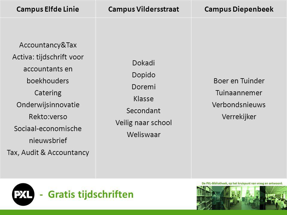 Campus Elfde LinieCampus VildersstraatCampus Diepenbeek Accountancy&Tax Activa: tijdschrift voor accountants en boekhouders Catering Onderwijsinnovati
