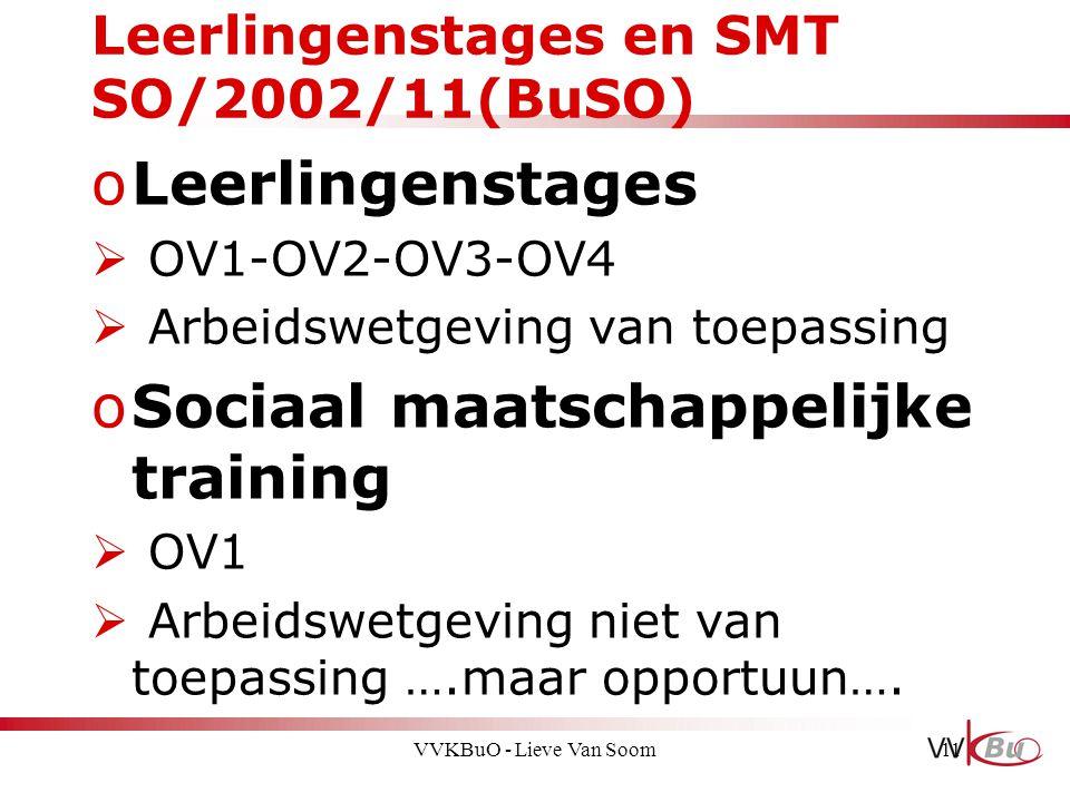 Leerlingenstages en SMT SO/2002/11(BuSO) oLeerlingenstages  OV1-OV2-OV3-OV4  Arbeidswetgeving van toepassing oSociaal maatschappelijke training  OV