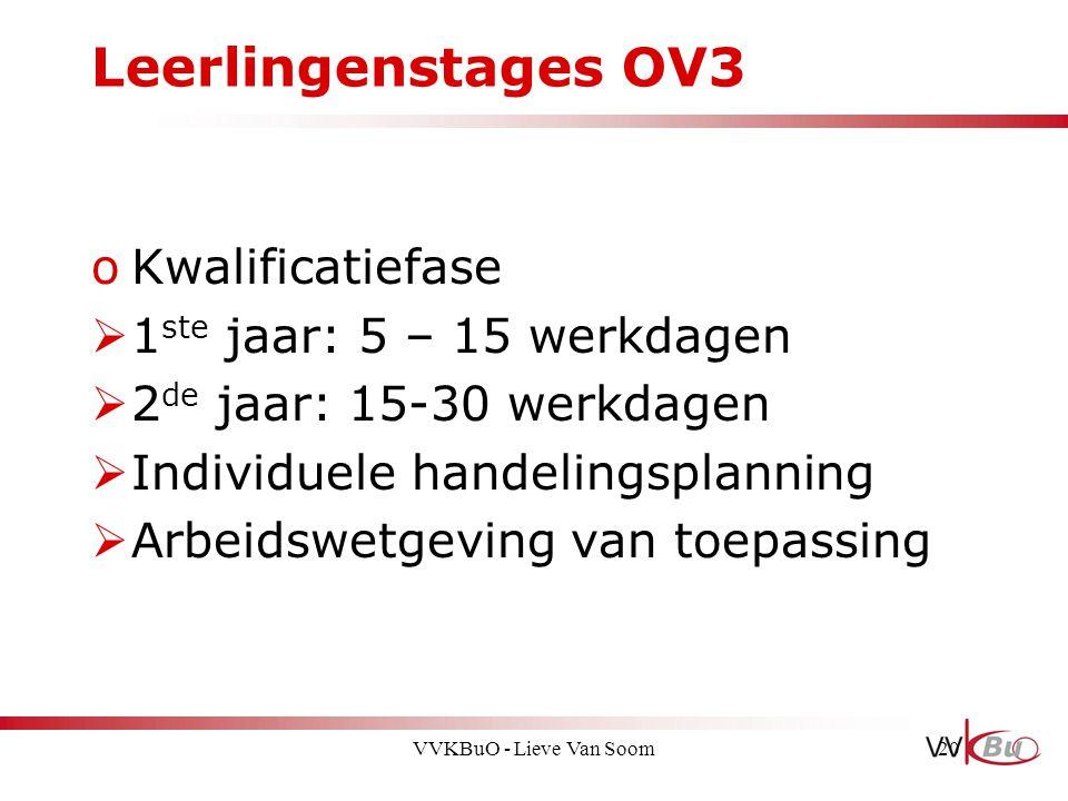 Leerlingenstages OV3 oKwalificatiefase  1 ste jaar: 5 – 15 werkdagen  2 de jaar: 15-30 werkdagen  Individuele handelingsplanning  Arbeidswetgeving