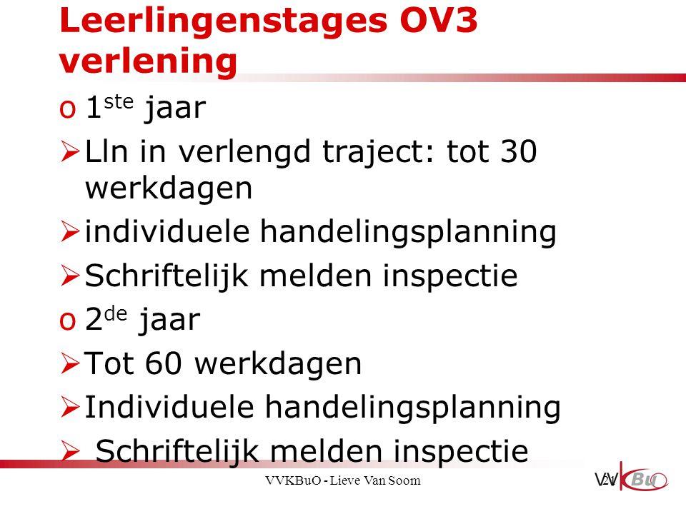 Leerlingenstages OV3 verlening o1 ste jaar  Lln in verlengd traject: tot 30 werkdagen  individuele handelingsplanning  Schriftelijk melden inspecti