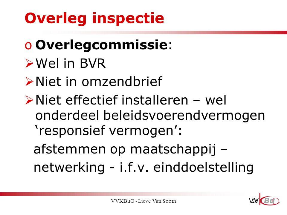 Overleg inspectie oOverlegcommissie:  Wel in BVR  Niet in omzendbrief  Niet effectief installeren – wel onderdeel beleidsvoerendvermogen 'responsie