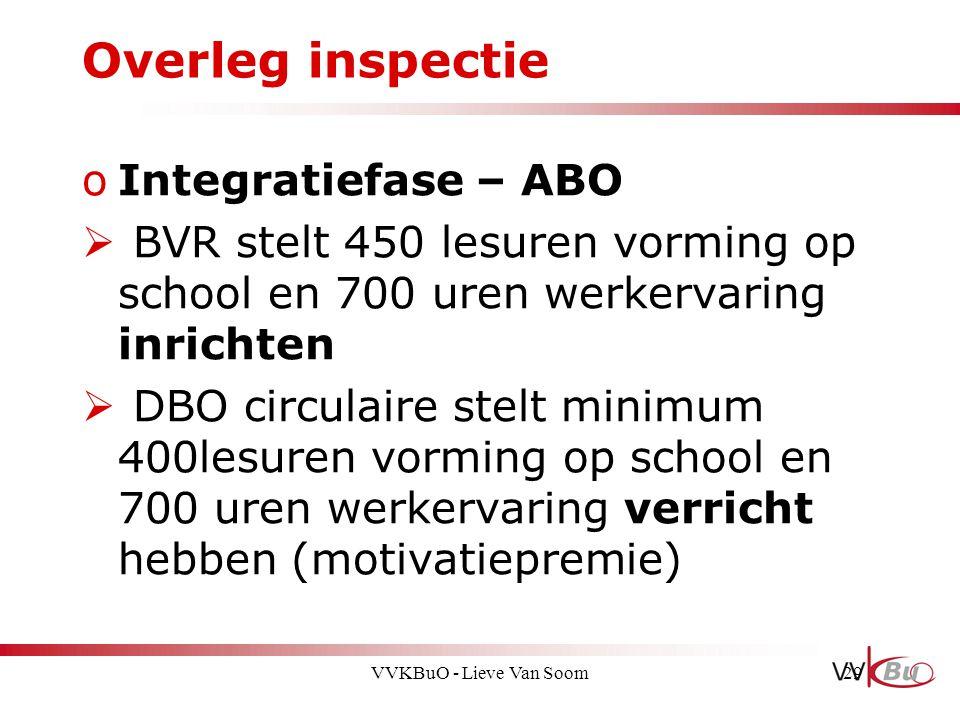 Overleg inspectie oIntegratiefase – ABO  BVR stelt 450 lesuren vorming op school en 700 uren werkervaring inrichten  DBO circulaire stelt minimum 40
