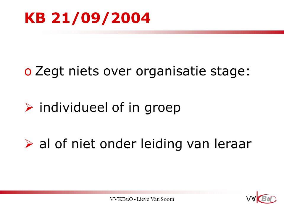 KB 21/09/2004 oZegt niets over organisatie stage:  individueel of in groep  al of niet onder leiding van leraar 8VVKBuO - Lieve Van Soom