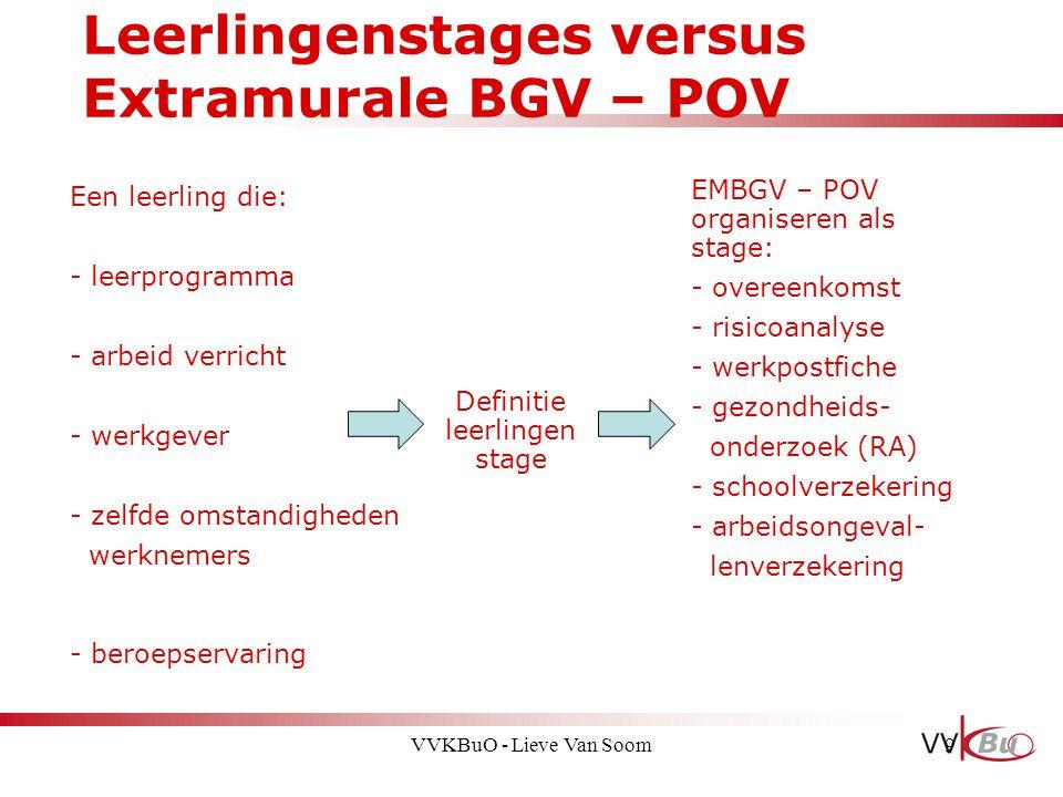 Leerlingenstages versus Extramurale BGV – POV 9 Een leerling die: - leerprogramma - arbeid verricht - werkgever - zelfde omstandigheden werknemers - b