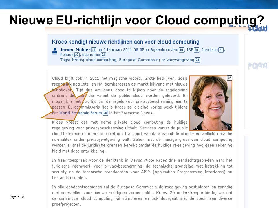 Page  10 Nieuwe EU-richtlijn voor Cloud computing?