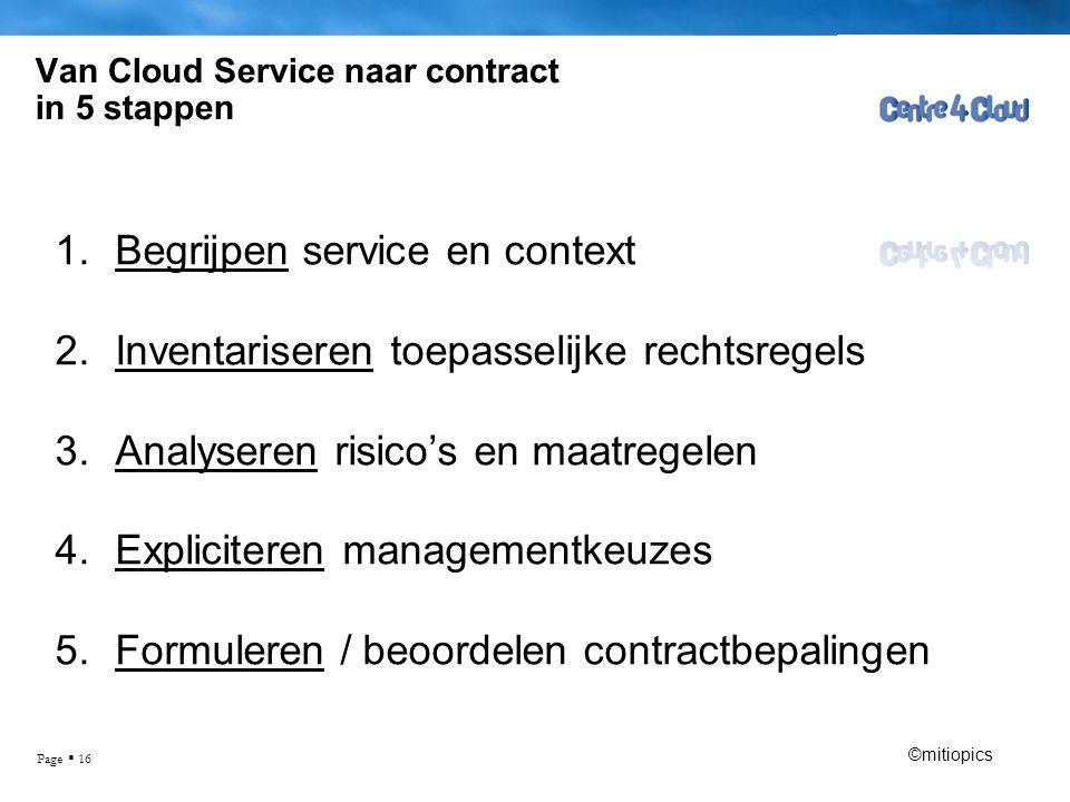 Page  16 Van Cloud Service naar contract in 5 stappen 1.Begrijpen service en context 2.Inventariseren toepasselijke rechtsregels 3.Analyseren risico's en maatregelen 4.Expliciteren managementkeuzes 5.Formuleren / beoordelen contractbepalingen ©mitiopics