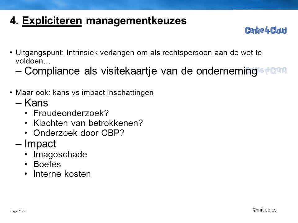 Page  22 4. Expliciteren managementkeuzes •Uitgangspunt: Intrinsiek verlangen om als rechtspersoon aan de wet te voldoen… –Compliance als visitekaart